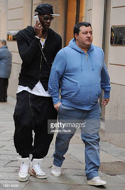 Agent Mino Raiola and Mario balotelli are seen on March 5 2013 in Milan Italy