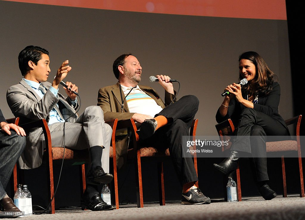 ICM agent Peter Trinh, Co-Founder Submarine Entertainment Josh Braun and actress Monique Gabriela Curnen speak onstage at the Film Independent Forum at the DGA Theater on October 26, 2013 in Los Angeles, California.