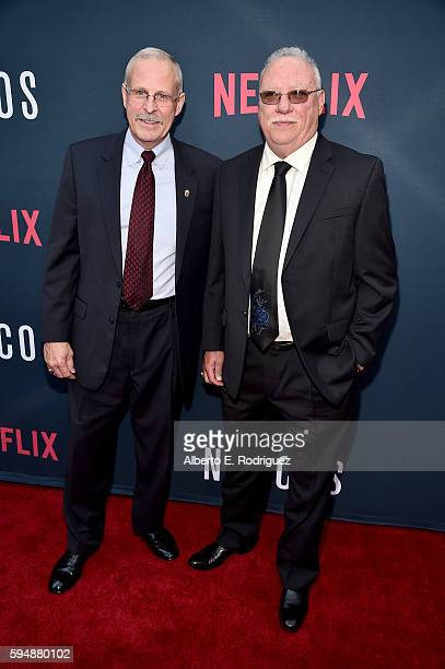 DEA agents Steve Murphy and Javier Pena attend the Season 2 premiere of Netflix's 'Narcos' at ArcLight Cinemas on August 24 2016 in Hollywood...