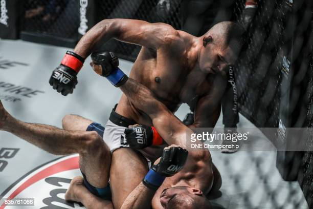 Agilan Thani dominates Sherif Mohamed for a clear decision win during ONE Championship Quest For Greatness at the Stadium Negara on August 18 2017 in...