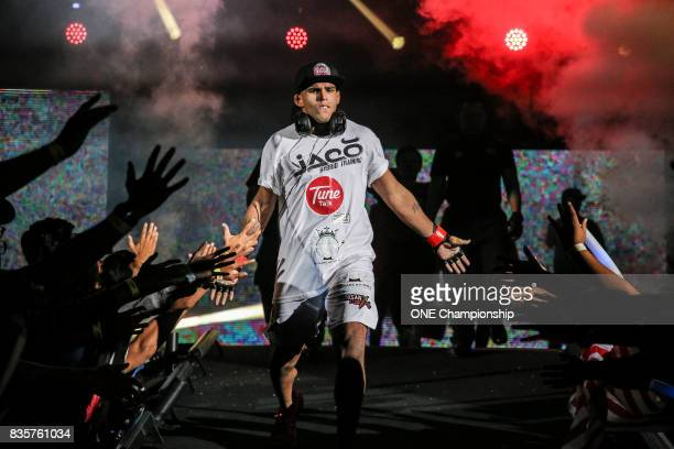 Agilan Thani walks out for his bout against Sherif Mohamed during ONE Championship Quest For Greatness at the Stadium Negara on August 18 2017 in...