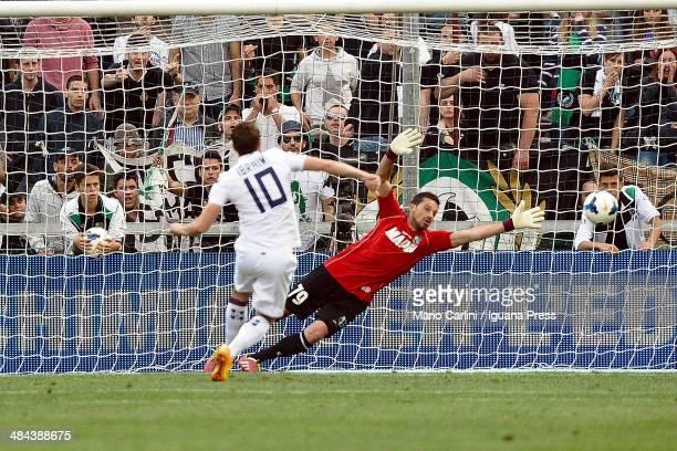 Agim Ibraimi of Cagliari Calcio scores a goal from the penalty spot during the Serie A match US Sassuolo Calcio and Cagliari Calcio on April 12 2014...