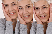 Aging process concept. Anti-aging procedures, facial lifting, old and young skin compare
