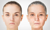 Aging process, rejuvenation anti-aging skin procedures old and young concept