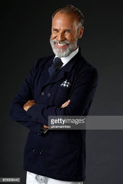 Aging with attitude  Bearded senior men   Mediterranean active stylish seniors