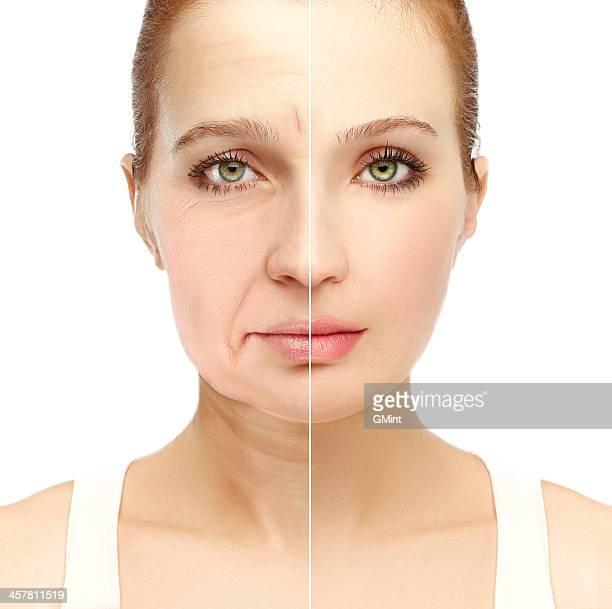 Aging.Mature femme jeune woman.White arrière-plan