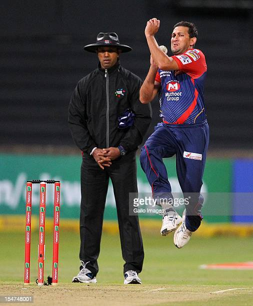 Agit Agarkar bowls during the Karbonn Smart CLT20 Semi Final match between bizhub Highveld Lions and Delhi Daredevils at Sahara Stadium Kingsmead on...