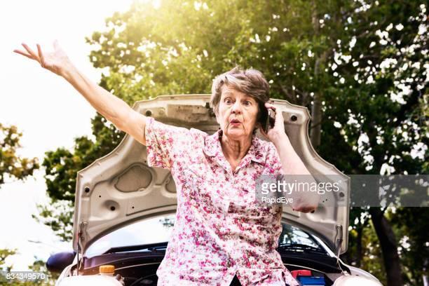 Alte Frau-Gespräche am Telefon von ihrem gestrandeten Auto aufgeregt