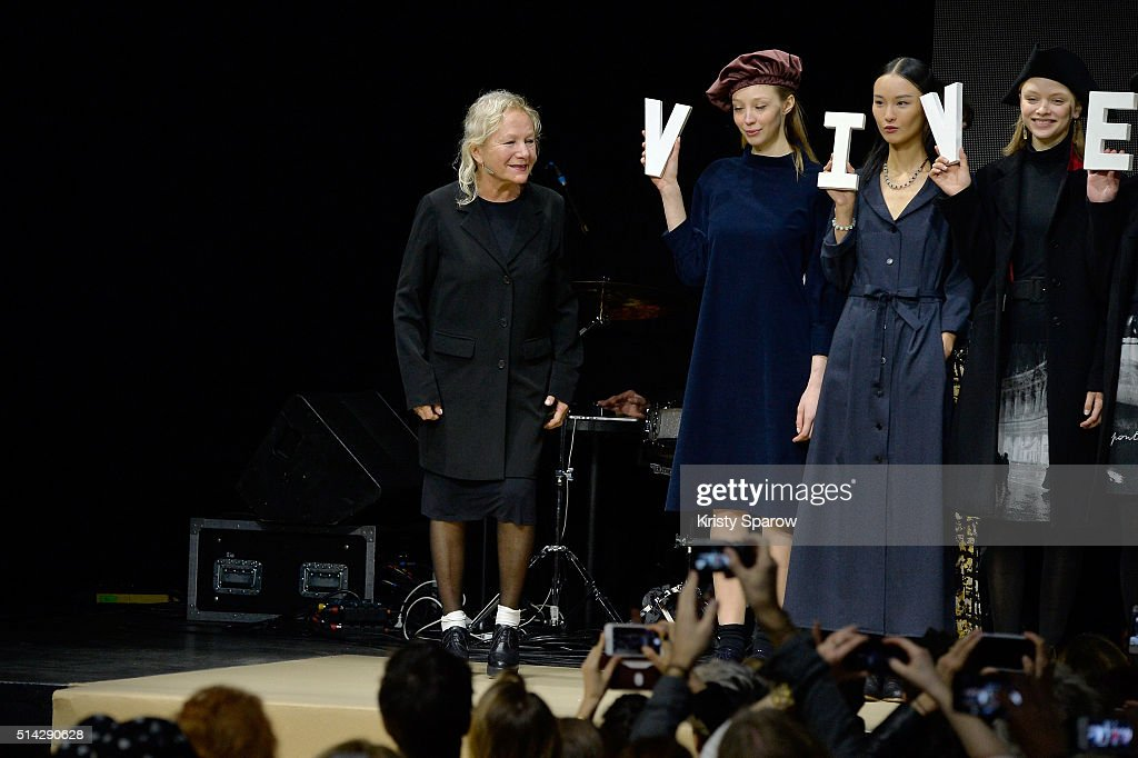 Agnes B. acknowledges the audience during the Agnes B. show as part of Paris Fashion Week Womenswear Fall/Winter 2016/2017 on March 8, 2016 in Paris, France.