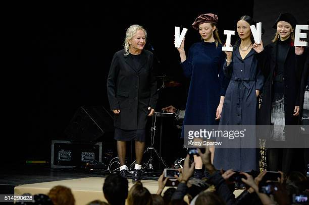 Agnes B acknowledges the audience during the Agnes B show as part of Paris Fashion Week Womenswear Fall/Winter 2016/2017 on March 8 2016 in Paris...
