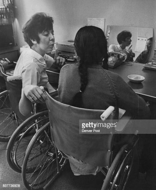 Agnes Brown a Navajo Indian who suffered a stroke and speech pathologist Marilyn Quintana work at learning Credit Denver Post