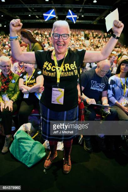 Agnes Duncan attends the SNP spring conference on March 17 2017 in Aberdeen Scotland Addressing delegates at the spring conference in Aberdeen today...