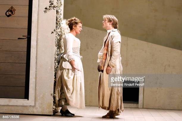 Agnes Pontier and Benjamin Jungers perform in 'Les Jumeaux Venitiens' Press Theater Play at Theatre Hebertot on September 6 2017 in Paris France
