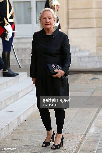 Agnes Trouble aka Agnes B arrives at the State Dinner honoring Japanese Prime Minister at Elysee Palace on May 5 2014 in Paris France