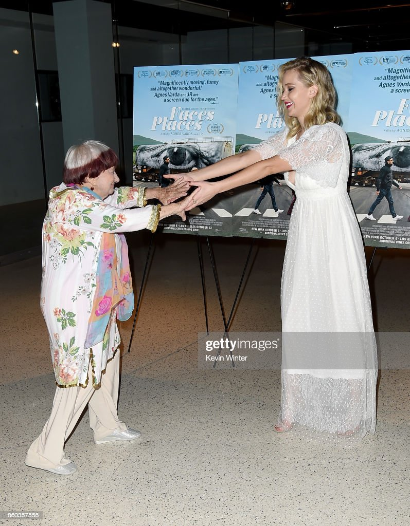 Agnes Varda (L) and Jennifer Lawrence attend the premiere of Cohen Media Group's 'Faces Places' at Pacific Design Center on October 11, 2017 in West Hollywood, California.