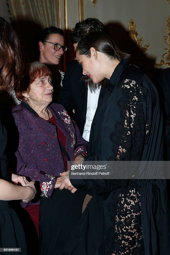 Agnes Varda and Marion Cotillard, pregnant, attend the 'Cesar - Revelations 2017' Dinner at Hotel Meurice on January 16, 2017 in Paris, France.