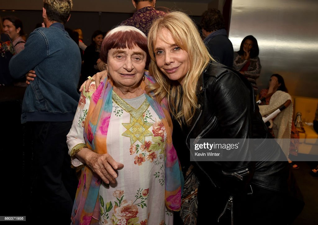 Agnes Varda and Rosanna Arquette attend the after party for the premiere of Cohen Media Group's 'Faces Places' at Pacific Design Center on October 11, 2017 in West Hollywood, California.