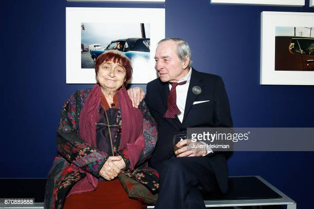 Agnes Varda and William Eggleston attend 'Auto Photo' Exhibition Preview at Fondation Cartier on April 18 2017 in Paris France