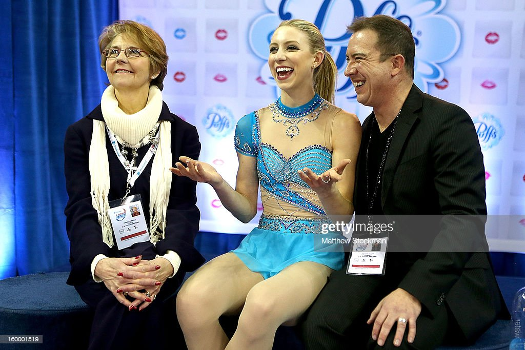 Agnes Zawadzki reacts with her coaches Christy Krall and Damon Allen as she gets her score after skating in the Ladies Short Program during the 2013 Prudential U.S. Figure Skating Championships at CenturyLink Center on January 24, 2013 in Omaha, Nebraska.