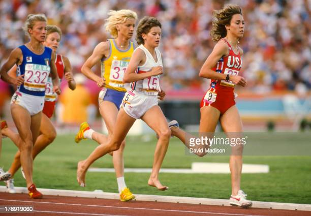 Agnese Possamai Maricica Puica Zola Budd and Mary Decker run the Women's 3000 meter final of the 1984 Olympics held in the Los Angeles Memorial...