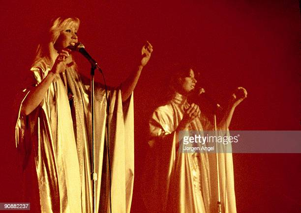 Agnetha Faltskog and AnniFrid Lyngstad of Abba perform on stage at the Brondbyhallen on January 31st 1977 in Copenhagen Denmark