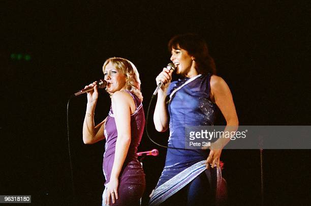 Agnetha Faltskog and AnniFrid Lyngstad of ABBA perform on stage at Wembley Arena on November 8th 1979 in London United Kingdom