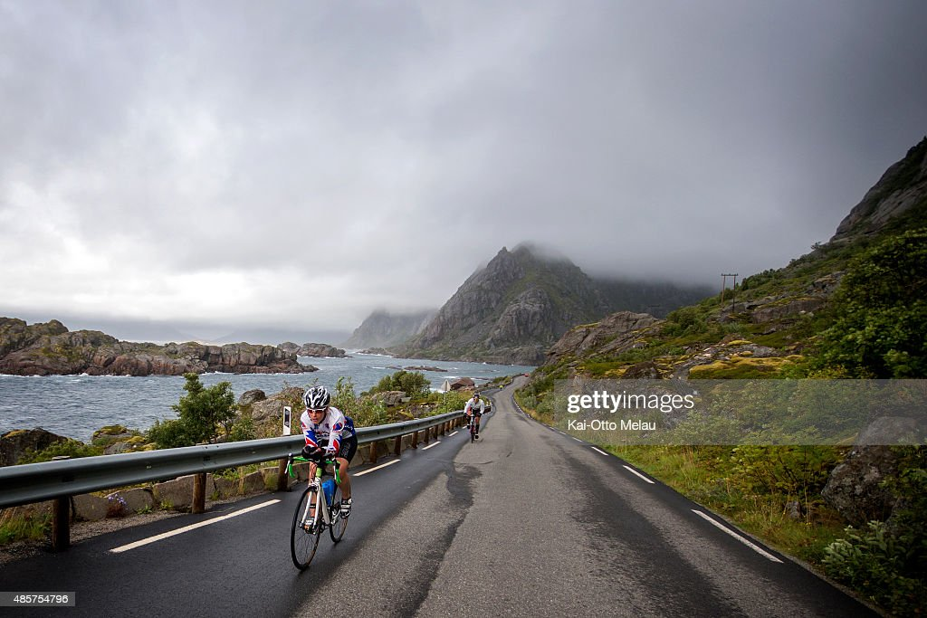 Agnethe Bergsaker at the bikeleg of the Lofoten Triathlon Test Race on August 29 2015 in Svolvar Norway 20 athletes have been invited to participate...