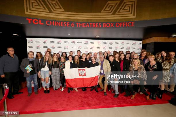 Agnieszka Holland poses with festivalgoers at the QA of 'Spoor' at AFI FEST 2017 Presented By Audi at TCL Chinese 6 Theatres on November 11 2017 in...