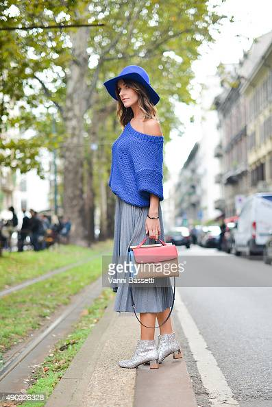 Agnieszka Ptak poses before the Dolce and Gabbana show during the Milan Fashion Week Spring/Summer 16 on September 27 2015 in Milan Italy