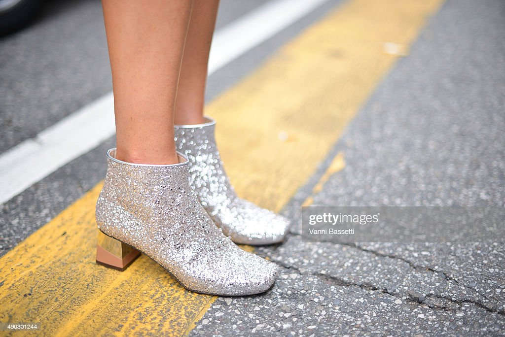 Agnieszka Ptak poses wearing L'Autre Chose boots before the Marni show during the Milan Fashion Week Spring/Summer 16 on September 27 2015 in Milan...