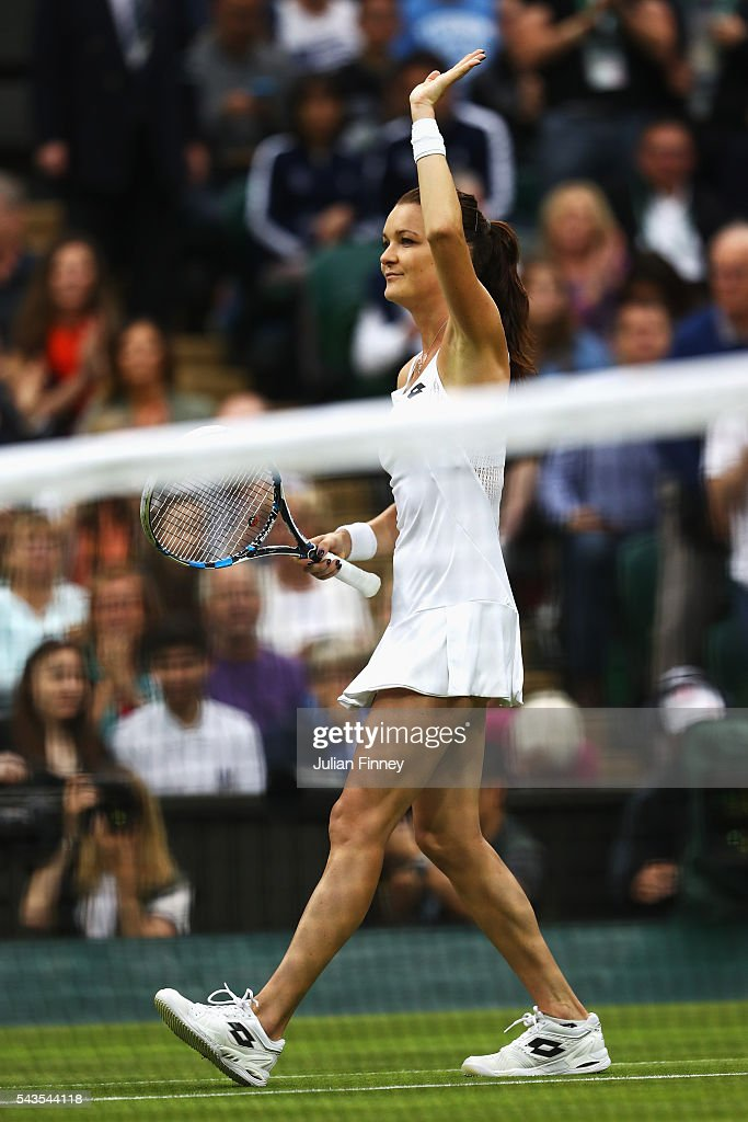 Agnieszka Radawanska of Poland celebrates victory during the Ladies Singles second round match against Kateryna Kozlova of Ukraine on day three of the Wimbledon Lawn Tennis Championships at the All England Lawn Tennis and Croquet Club on June 29, 2016 in London, England.