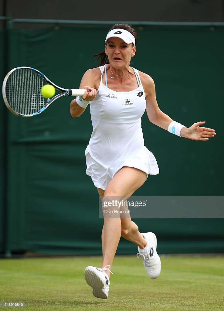 Agnieszka Radawanska of Poland plays a forehand during the Ladies Singles second round match against Anett Kontaveit of Estonia on day four of the Wimbledon Lawn Tennis Championships at the All England Lawn Tennis and Croquet Club on June 30, 2016 in London, England.