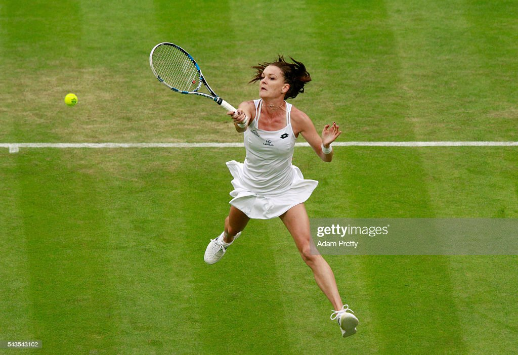 Agnieszka Radawanska of Poland volleys during the Ladies Singles second round match against Kateryna Kozlova of Ukraine on day three of the Wimbledon Lawn Tennis Championships at the All England Lawn Tennis and Croquet Club on June 29, 2016 in London, England.