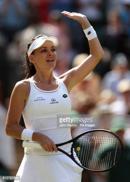 Agnieszka Radwanska celebrates victory over Timea Bacsinszky on day six of the Wimbledon Championships at The All England Lawn Tennis and Croquet...