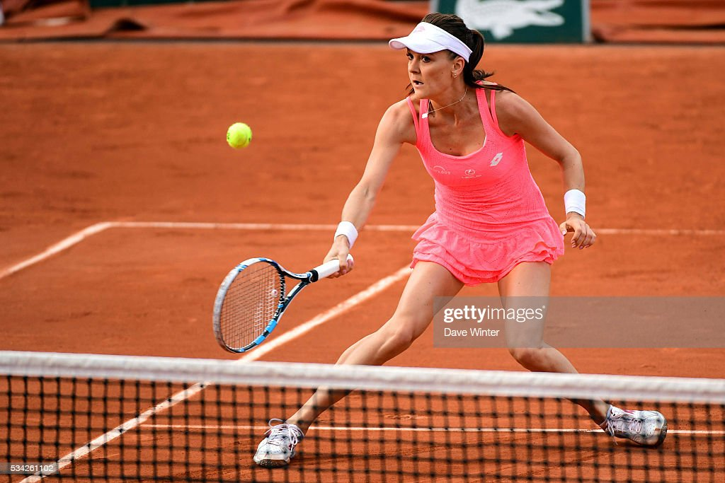 Agnieszka Radwanska during the Women's Singles second round on day four of the French Open 2016 at Roland Garros on May 25, 2016 in Paris, France.