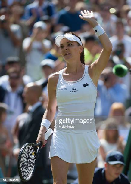 Agnieszka Radwanska in action during the Ladies Singles third round match against Timea Bacsinszky on day six of the Wimbledon Lawn Tennis...