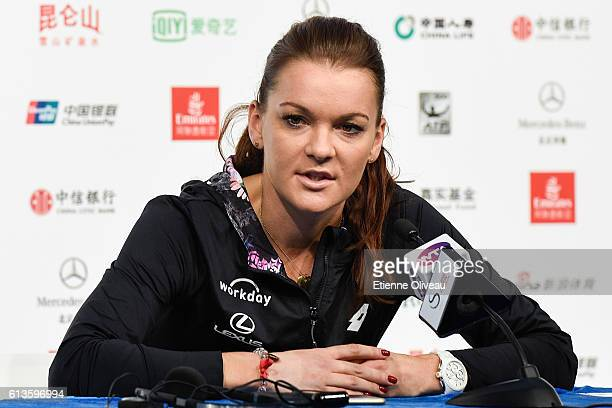 Agnieszka Radwanska of Poland attends a press conference after her victory against Johanna Konta of Great Britain during the Women's Singles final on...