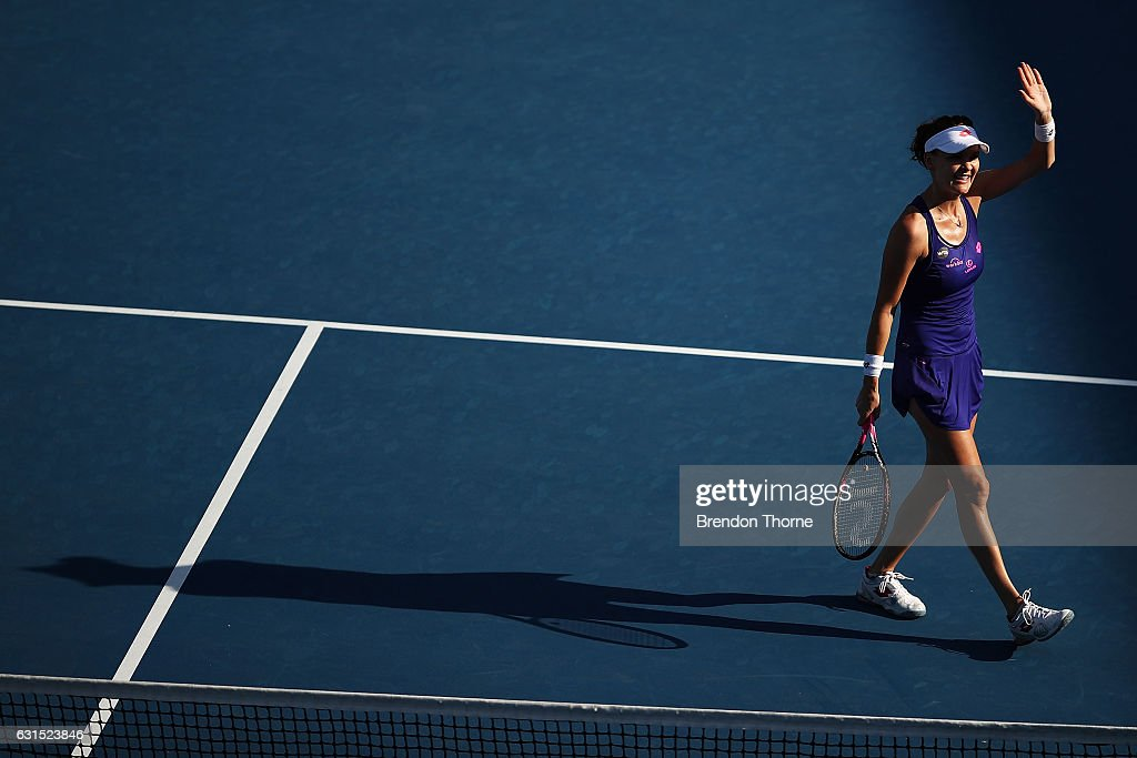 Agnieszka Radwanska of Poland celebrates after victory in her semi final match against Barbora Strycova of the Czech Republic during day five of the 2017 Sydney International at Sydney Olympic Tennis Centre on January 12, 2017 in Sydney, Australia.