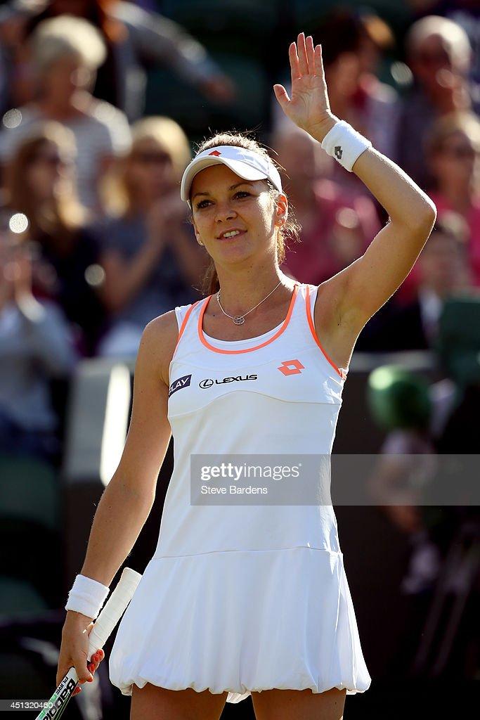 Agnieszka Radwanska of Poland celebrates after winning her Ladies' Singles third round match against Michelle Larcher De Brito of Portugal on day...