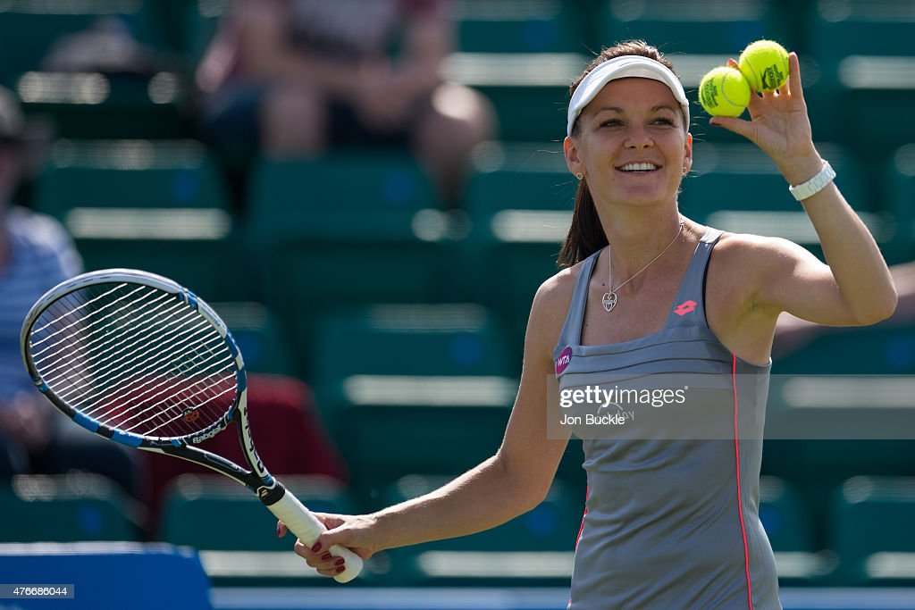 <a gi-track='captionPersonalityLinkClicked' href=/galleries/search?phrase=Agnieszka+Radwanska&family=editorial&specificpeople=579516 ng-click='$event.stopPropagation()'>Agnieszka Radwanska</a> of Poland celebrates her victory against Christina McHale of USA on day four of the WTA Aegon Open Nottingham at Nottingham Tennis Centre on June 11, 2015 in Nottingham, England.