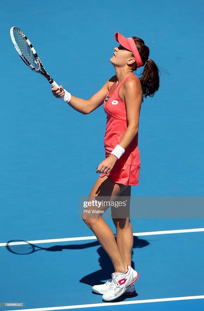 Agnieszka Radwanska of Poland celebrates match point in the final against Yanina Wickmayer of Belgium during day six of the 2013 ASB Classic at ASB Arena on January 5, 2013 in Auckland, New Zealand.