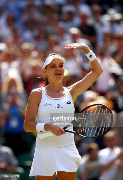 Agnieszka Radwanska of Poland celebrates victory after her Ladies Singles third round match against Timea Bacsinszky of Switzerland on day six of the...