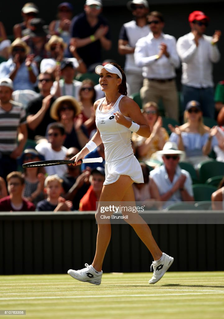 Agnieszka Radwanska of Poland celebrates victory after her Ladies Singles third round match against Timea Bacsinszky of Switzerland on day six of the Wimbledon Lawn Tennis Championships at the All England Lawn Tennis and Croquet Club on July 8, 2017 in London, England.
