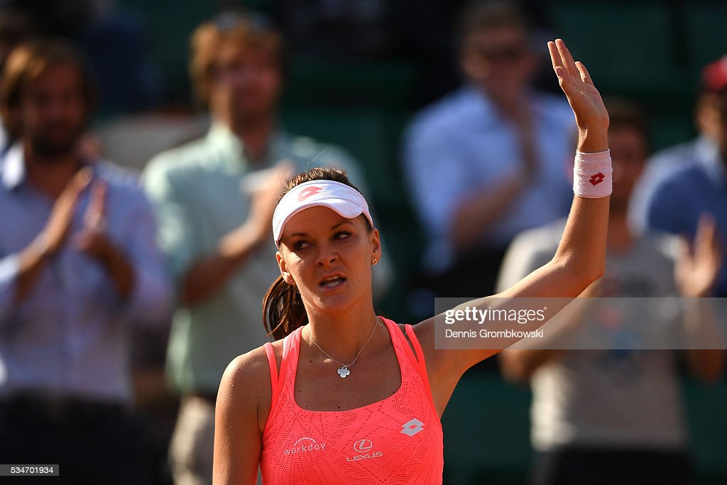 <a gi-track='captionPersonalityLinkClicked' href=/galleries/search?phrase=Agnieszka+Radwanska&family=editorial&specificpeople=579516 ng-click='$event.stopPropagation()'>Agnieszka Radwanska</a> of Poland celebrates victory during the Ladies Singles third round match against Barbora Strycova of Czech Republic on day six of the 2016 French Open at Roland Garros on May 27, 2016 in Paris, France.