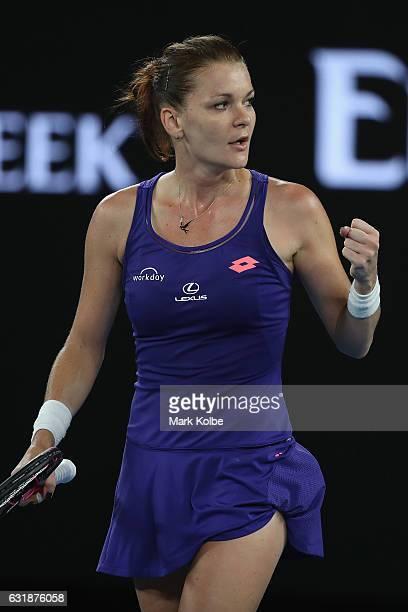 Agnieszka Radwanska of Poland celebrates victory in her first round match against Tsvetana Pironkova of Bulgaria on day two of the 2017 Australian...