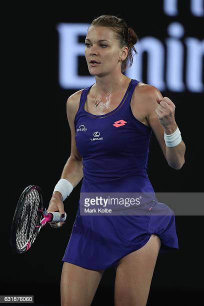 Agnieszka Radwanska of Poland celebrates victory in her first round match against Tsvetana Pironkova of Bulgaria on day two of the 2017 Australian...