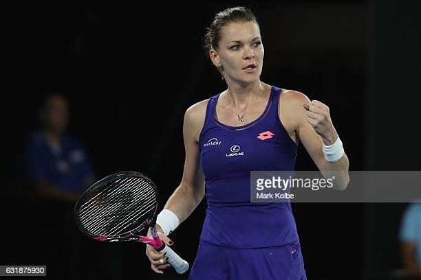 Agnieszka Radwanska of Poland celebrates winning a point in her first round match against Tsvetana Pironkova of Bulgaria on day two of the 2017...
