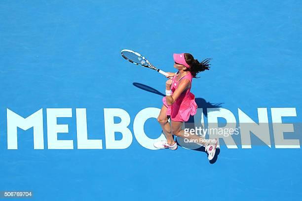 Agnieszka Radwanska of Poland celebrates winning her quarter final match against Carla Suarez Navarro of Spain during day nine of the 2016 Australian...