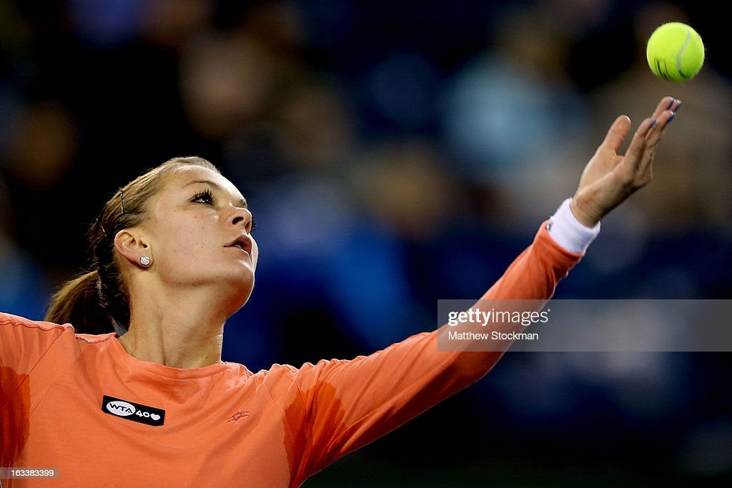 Agnieszka Radwanska of Poland during the BNP Paribas Open at the Indian Wells Tennis Garden on March 8, 2013 in Indian Wells, California.