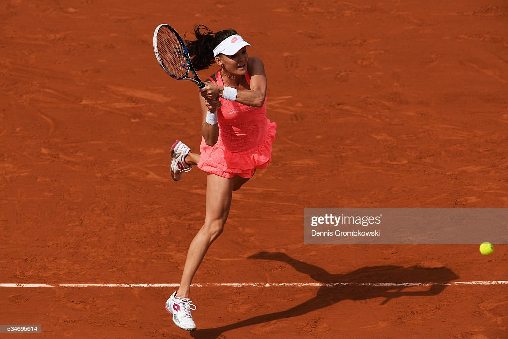 Agnieszka Radwanska of Poland hits a backhand during the Ladies Singles third round match against Barbora Strycova of Czech Republic on day six of the 2016 French Open at Roland Garros on May 27, 2016 in Paris, France.